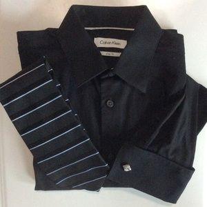 Calvin Klein Slimfit Shirt/Tie Combo Black Neck 15